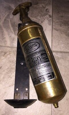 PYRENE FIRE EXTINGUISHER AUTOMOBILE TYPE WITH BRACKET RARE Antique Brass Vtg