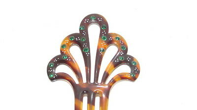 Vintage Faux Tortoise Shell Cellulid & Green Rhinestones Hair Comb 3 Tines AA310