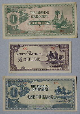 OCEANIA & BURMA Japanese Invasion Money 1942 - Lot of 3 WWII Notes, No Res.!