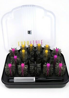 EuroStyle Professional Hair Styling Rollers Curlers Bristle Brush Set Vintage