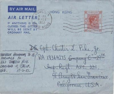 1952 Hong Kong Air Letter AL4 , Kowloon to US APO 331 forwarded to US*d