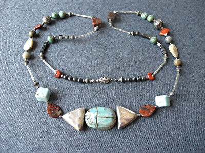 Vintage egyptian revival pottery scarab real stones glass & metal large necklace