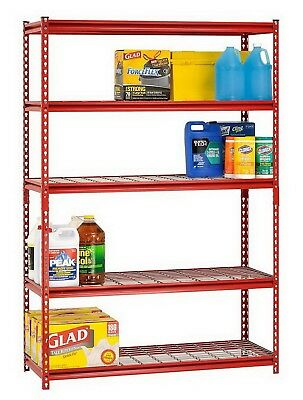 "Muscle Rack 5 Shelf Steel Shelving Unit 48"" x 72"" x 18"" Red Metal Storage Rack"