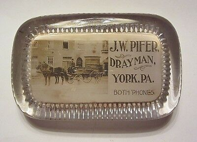 Antique Glass Advertising Paperweight J W Pifer DRAYMAN York PA Both Phones