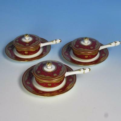 Mintons China - Rare - 3 Stick Handled Ruby & Gold Covered Dishes with Liners