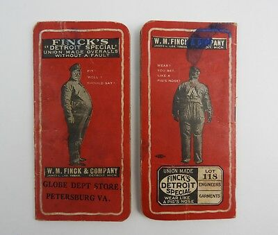 2x 1921 Finck's Overalls Dept. Store Booklets Diary Journal Full of Entries!
