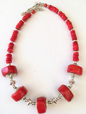 Chunky RED CORAL NECKLACE Fine Jewelry STERLING SILVER Native American Artisan