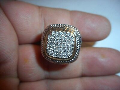 Vintage Brilliant Swarovski Crystal Studded 14k  gold plate cocktail ring Size 6