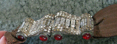 "Antique Victorian Fabric BELT w/ Double 2 1/2"" x 1 1/4"" Rhinestone Buckle Clasp"