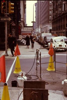 1970s Vintage Photo Slide 17th St. PE Philadelphia Electric Co. WORK CONES FLAGS