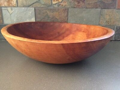 Vintage Large Out Of Round - Primitive Farmhouse Wood Dough Mixing Bowl 13""