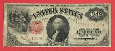 "1917 $1 RED US Legal Tender ""LARGE SIZE Currency"" VG ""SAWHORSE"" Old US!"