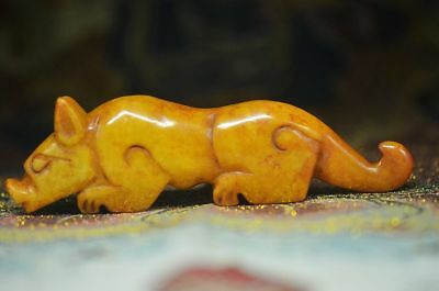 Beautiful china natural old jade handmade dog statuette R73