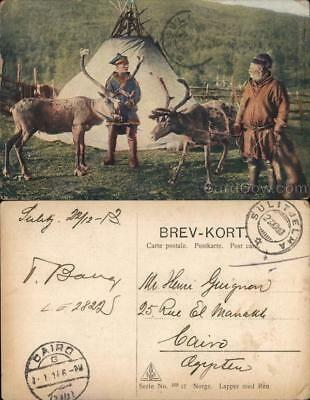 Norway Saami Men with Lavvo and Reindeer Postcard