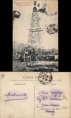 New Caledonia 1909 Noumea Oil rig topped by a French flag in a forest Oil Well