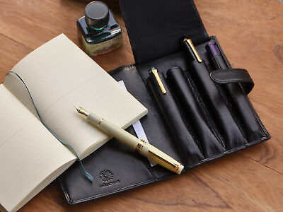 Wancher Japan Genuine Leather Handmade Pen Case Black Store 4 Pens and Note