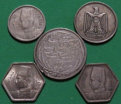 EGYPT 5 Silver Coin Mixed Lot. British Occupation - United Arab Republic.