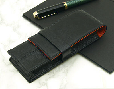 Wancher Japan Black Orange Genuine Leather Fountain Pen Case 3 Pens Any Size