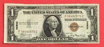 """1935A $1 Brown Seal """"HAWAII"""" Emergency WWII SILVER Certificate Choice VF! Money"""