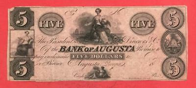 "1800s $5 US Bank of Augusta ""GEORGIA"" LARGE SIZE Currency!"