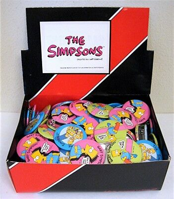 The Simpsons 120 Simpsons Pins Pinback Button Store Display Old Stock