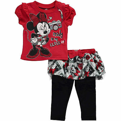 DISNEY Minnie Mouse 2pc Set T-Shirt Tutu Legging Toddler Girls Size 3-6 Months