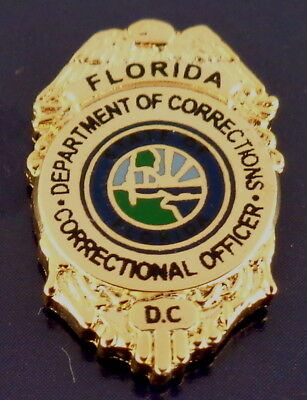 "Florida Department of Corrections GOLD 11/16"" Mini Badge Lapel Pin FL DOC police"