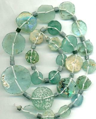 Roman Ancient Glass Beads Blue Green ~Centuries Old~Authentic Encrusted 18""
