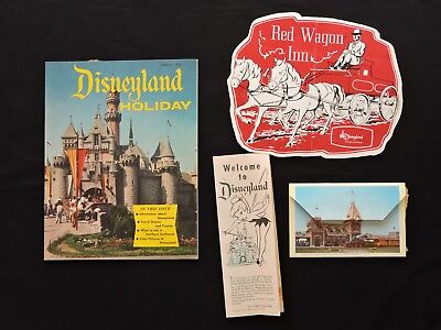 Vintage 1950's Disneyland Lot Holiday Magazine, Red Wagon Inn Menu, Welcome Map+