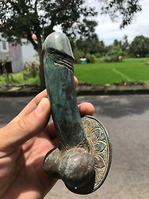 old looking penis DOOR PULL HOOK aged GREEN solid brass 17 cm handle hand made B