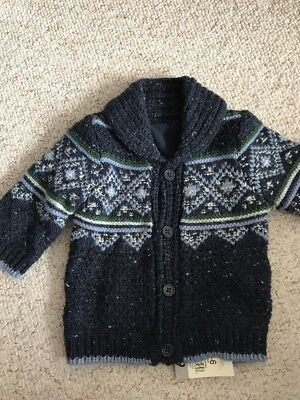 NEW Baby Boy 3-6 Mths Fleece Lined Knitted Cardigan Jacket BNWT Boy Girl Clothin