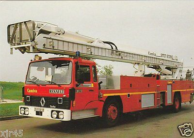 A French Renault G260/Camiva/Simon Hydraulic Platform - Fire Engine Postcard