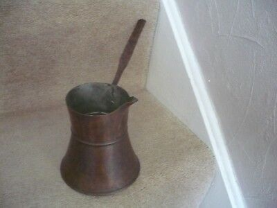 A Vintage Copper Pouring Milk / Water Pan With Long Copper Handle Tin Lined