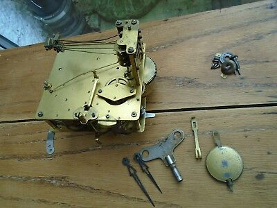 Vintage Mantel Clock Movement with Pendulum Hands and Key