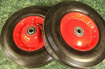 "2pc 10"" inch SOLID RUBBER DOLLY WHEELS New Tire Rim wheel Hard Heavy duty"