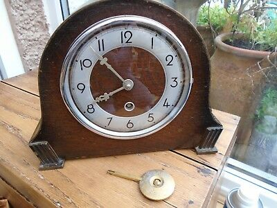 Vintage Art Deco Bentima  Mantel Clock Davall With Pendulum Made In England