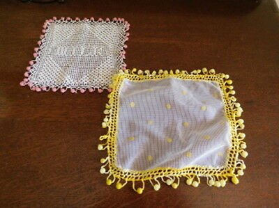 2 Milk Jug Covers -Filet Crochet 'MILK' + Hail Spot Muslin