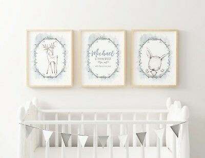 Baby, Boy Nursery Wall Bedroom Wall Art decor Woodland Birth Announcement Prints