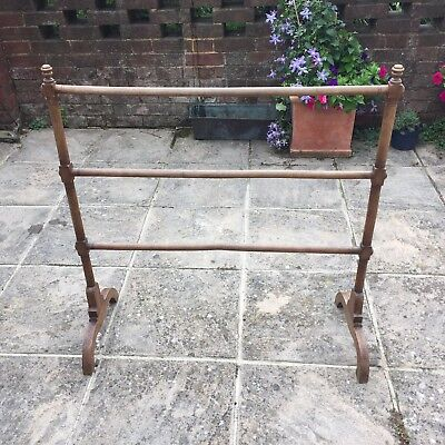 Antique Vintage Wooden Oak Towel Stand Drying Rack clothes airer