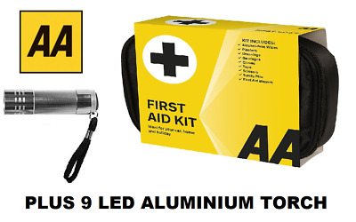 AA Soft Pouch First Aid Kit & 9 LED Aluminium Torch Package - Free Delivery