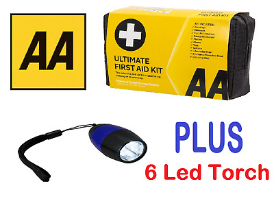 AA Ultimate First Aid Kit & 9 LED Aluminium Torch Package - Free Delivery