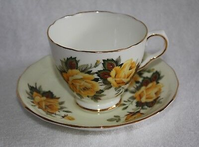 Old Royal Fine Bone China Sampson & Smith Footed Gold Trim Teacup and Saucer
