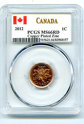 2012 Canada Cent Pcgs Ms66 Rd Non Magnetic Zinc High Grade Last Year Of Issue !