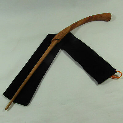 "15"" Hand Carved LeStrange Mahogany Wood Magic Wand Witch Wizard w/ Velvet Bag"