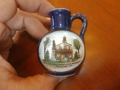 Antique Porcelain Cobalt Travel Souvenir Athens PA Mini Miniature Pitcher
