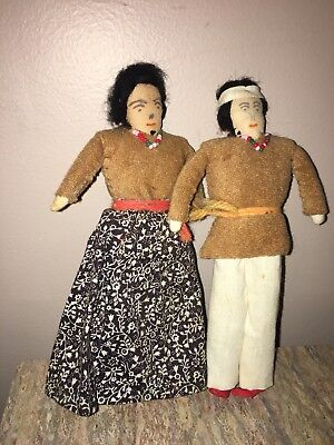 Antique Native American Navajo Indian Man And Woman Doll Pair 6 1/2""