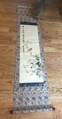 Chinese Painting Scroll Signed & Stamped Antique Bird Flowers & Box