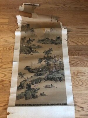 Chinese Painting Scroll Signed & Stamped Antique Landscape As Found