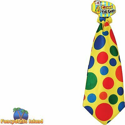 CIRCUS CLOWN LONG SPOTTY FUN TIE Mens Womens Fancy Dress Costume Accessory