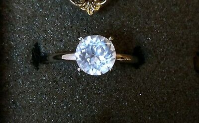 Nice 1 1/2 CT Faux Diamond Solitaire Ring Silver Tone Size 7